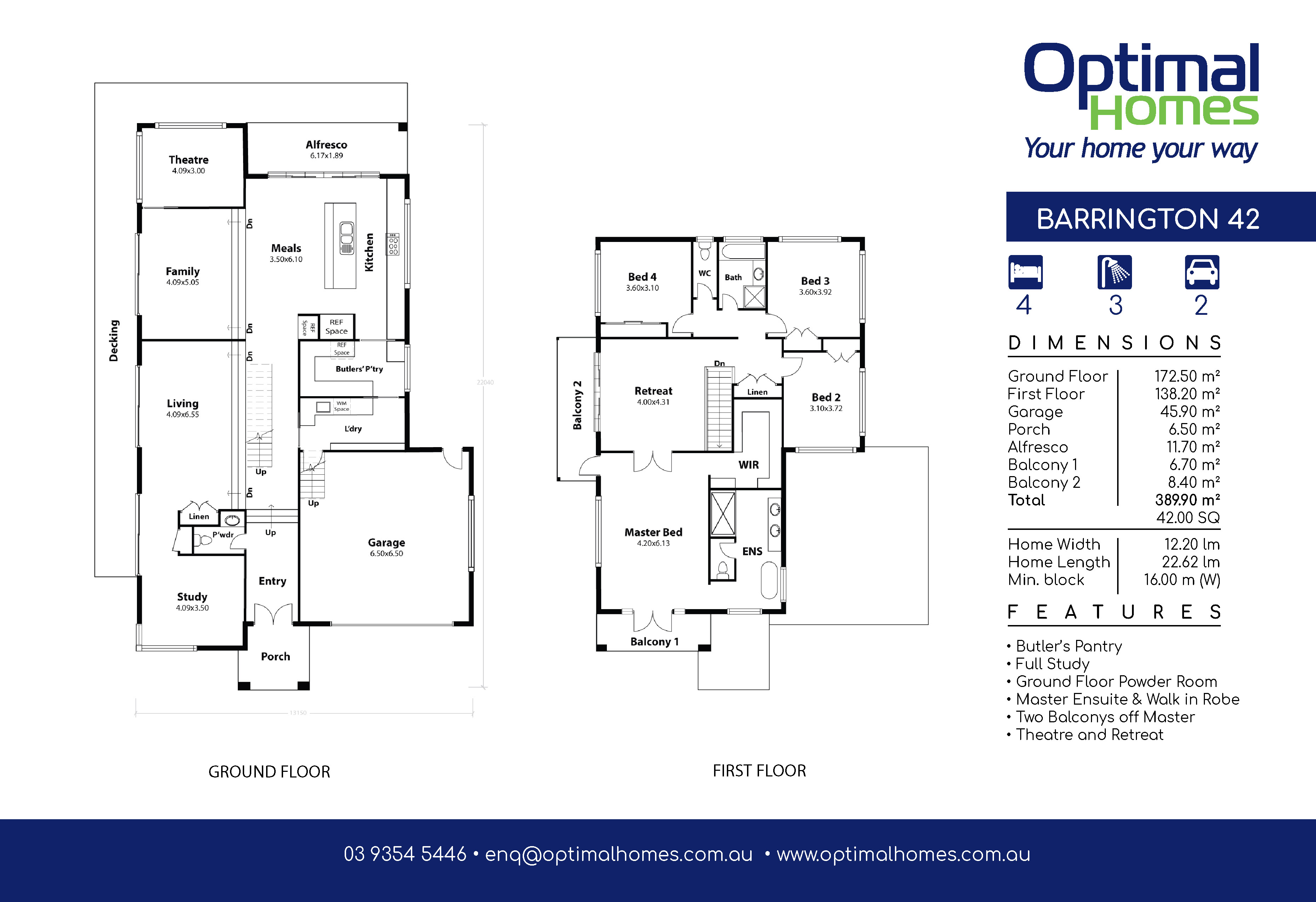 Barrington 42 Split Level Floor Plan